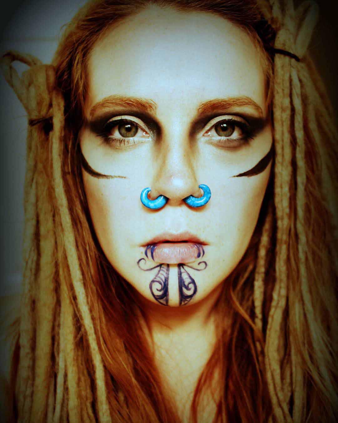 Chin Tattoo Girl by originaldoodlebodyart