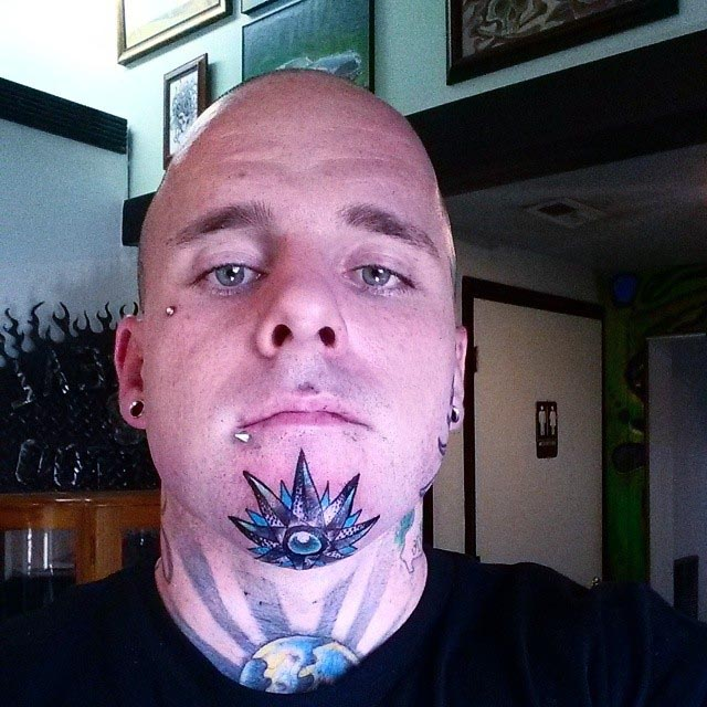 Crystal Star Chin Tattoo by joehoppertink