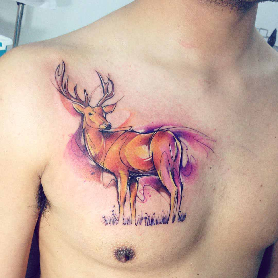 deer watercolor tattoo on chest