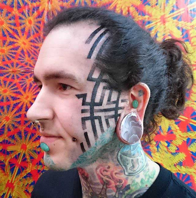 Dotwork Face Tattoo by deryntwelvetattoo