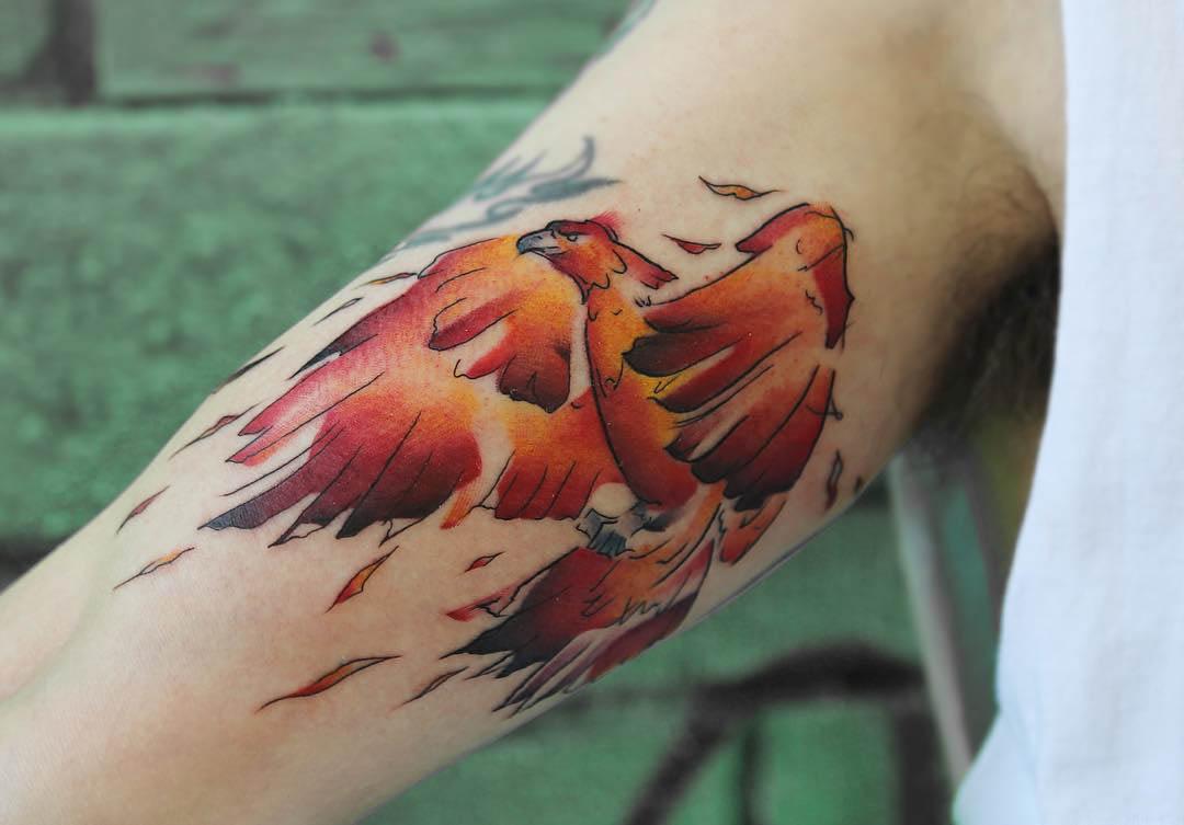 bicep tattoo firebird