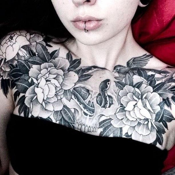 beautiful grey chest tattoo for girls