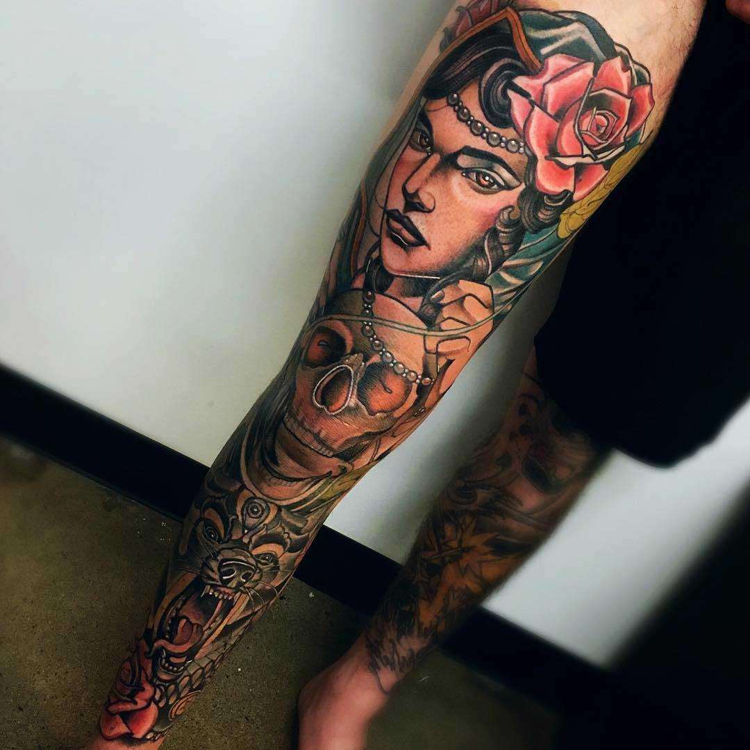 leg tattoo sleeve gypsy woman