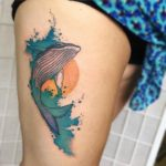 Humpback Whale Tattoo on Thigh