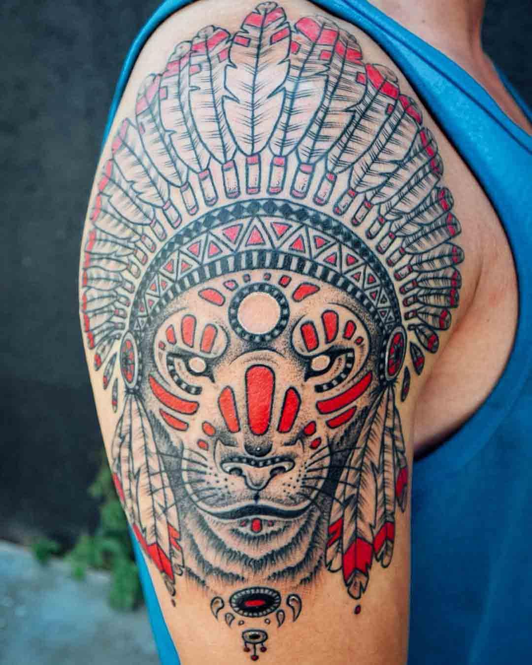 indian tattoo lion on shoulder