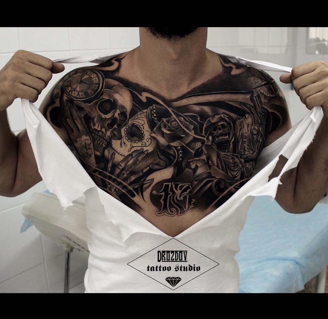 chicano chest tattoo santa muerte