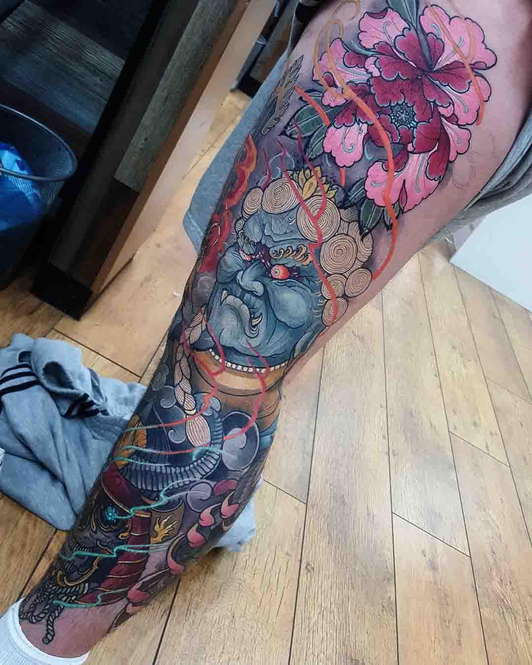 leg tattoo neo-japanese style