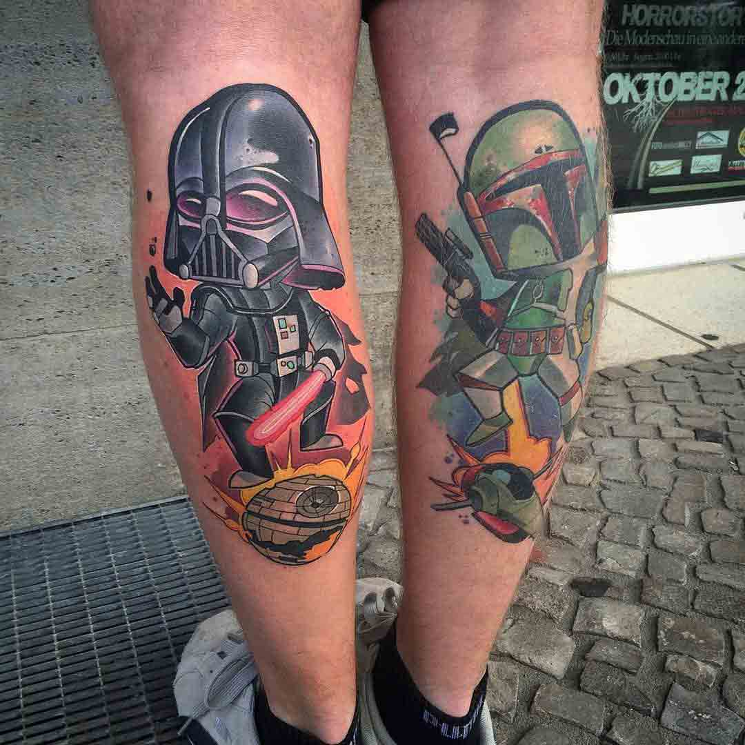 calf tattoos star wars darth vader and boba fett