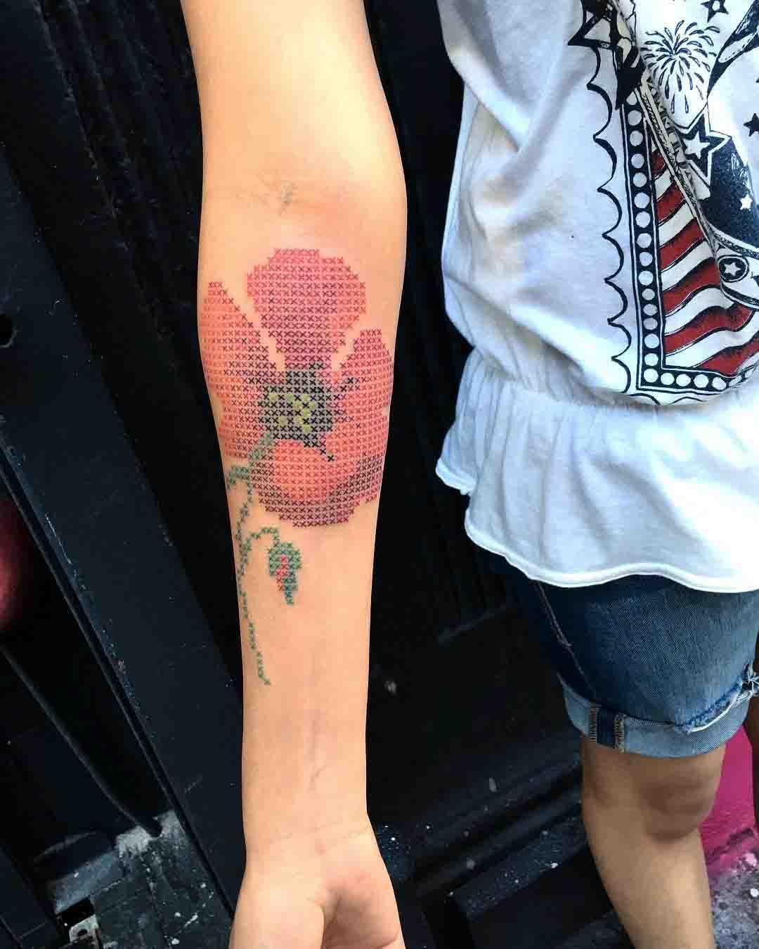 cross stitch tattoo poppy flower