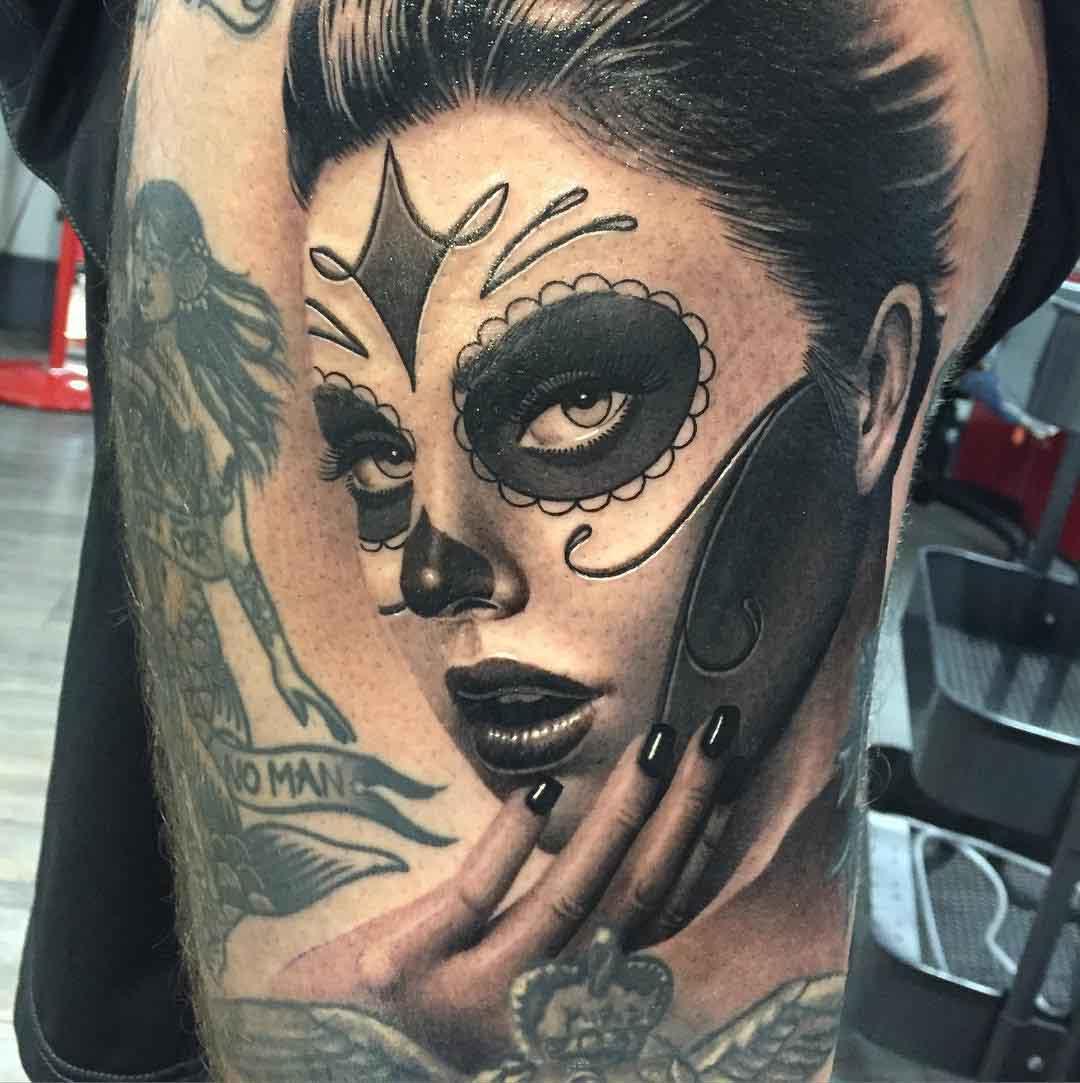 girl tattoo santa muerte