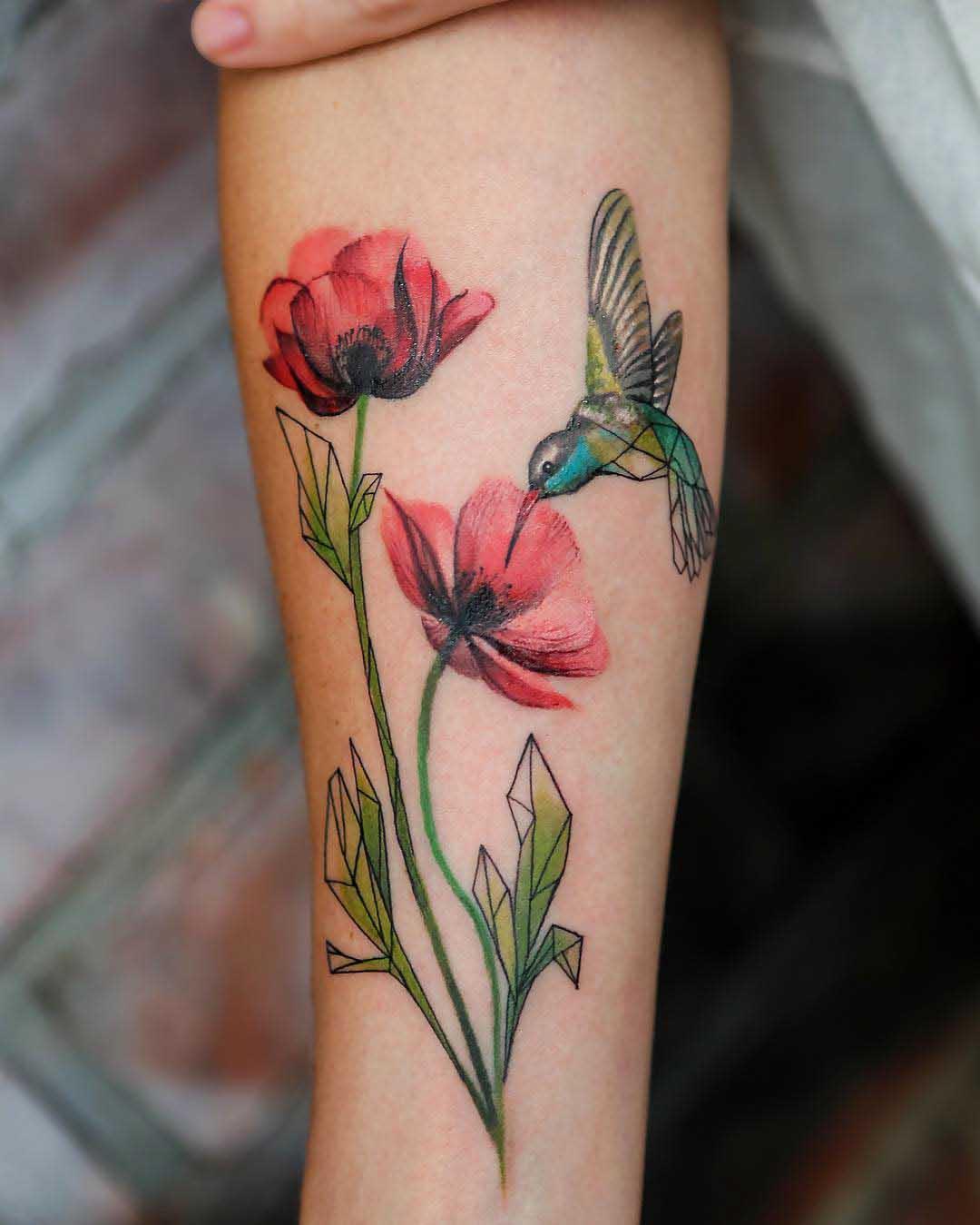 flowers poppy and hummingbird tattoo