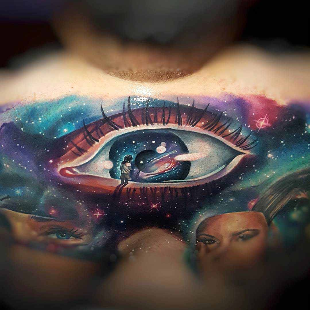 a kid on an eye tattoo