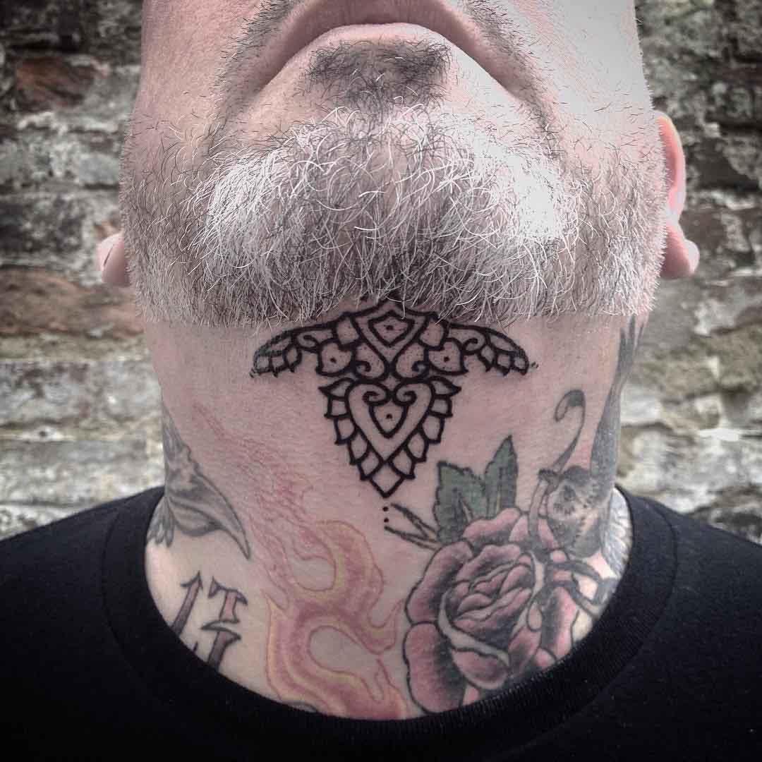 Under Chin Tattoos by kamiladaisytattoo