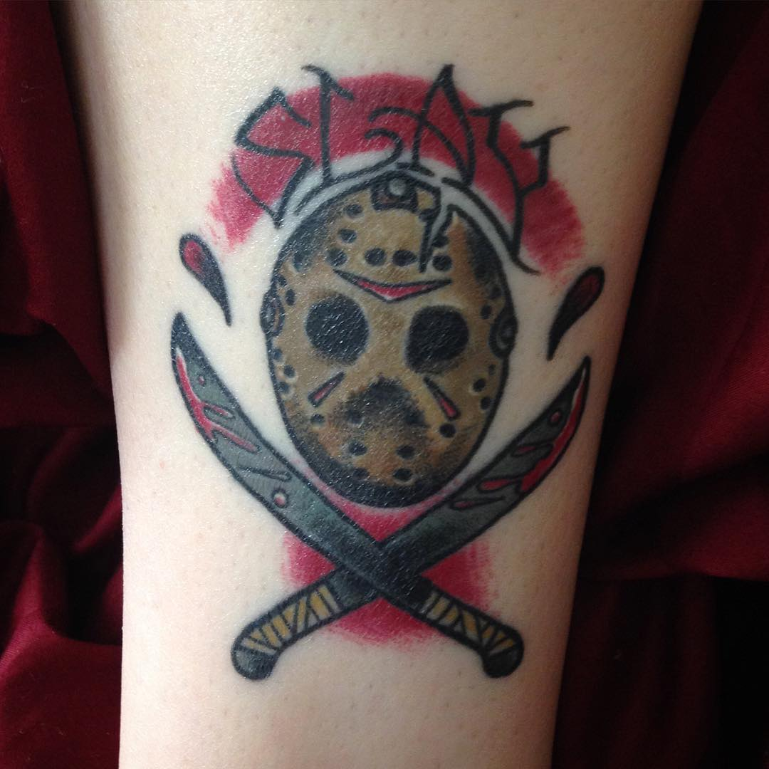 friday the 13th mask tattoo by bobbybosak