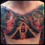 Horror chest tattoo