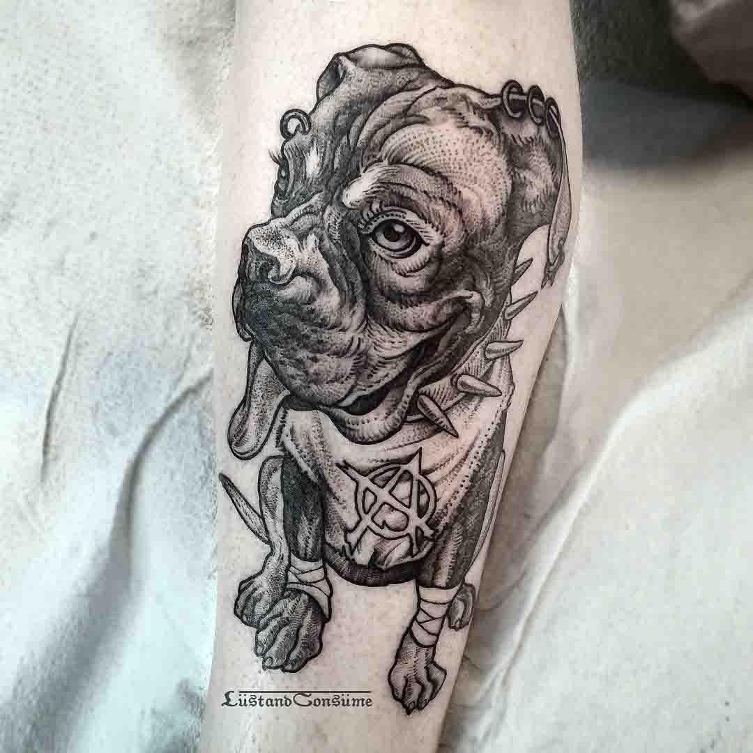 punk dog tattoo