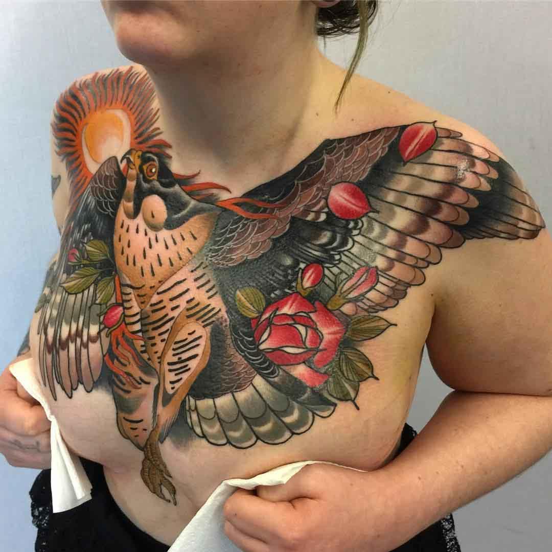 big chest tattoo hawk eagle