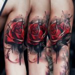 Black And Red Rose Tattoo