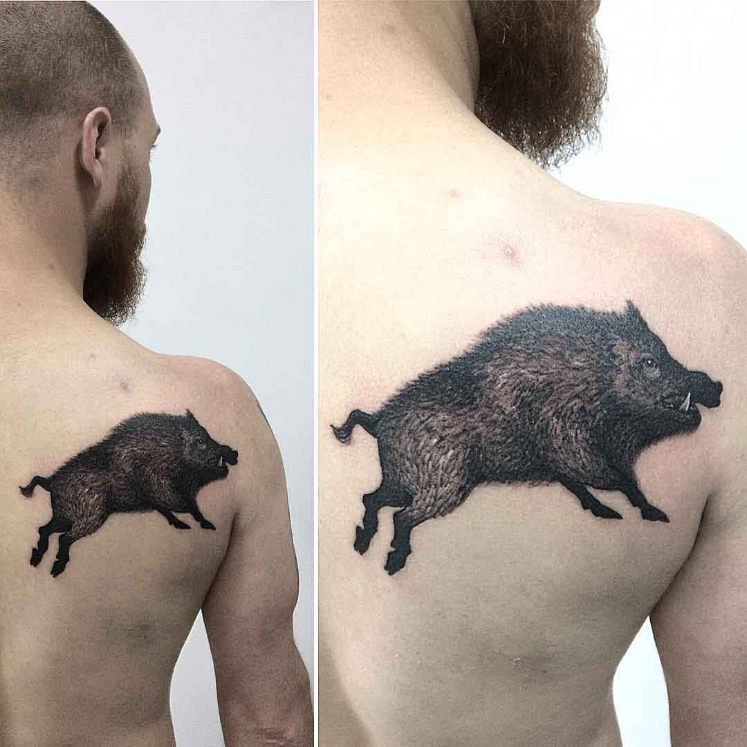 boar tattoo on back