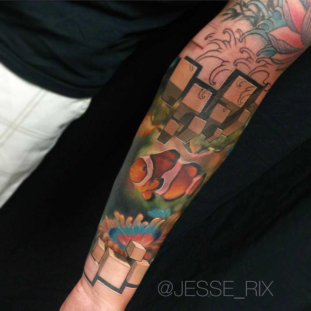 sleeve tattoo 3D fish