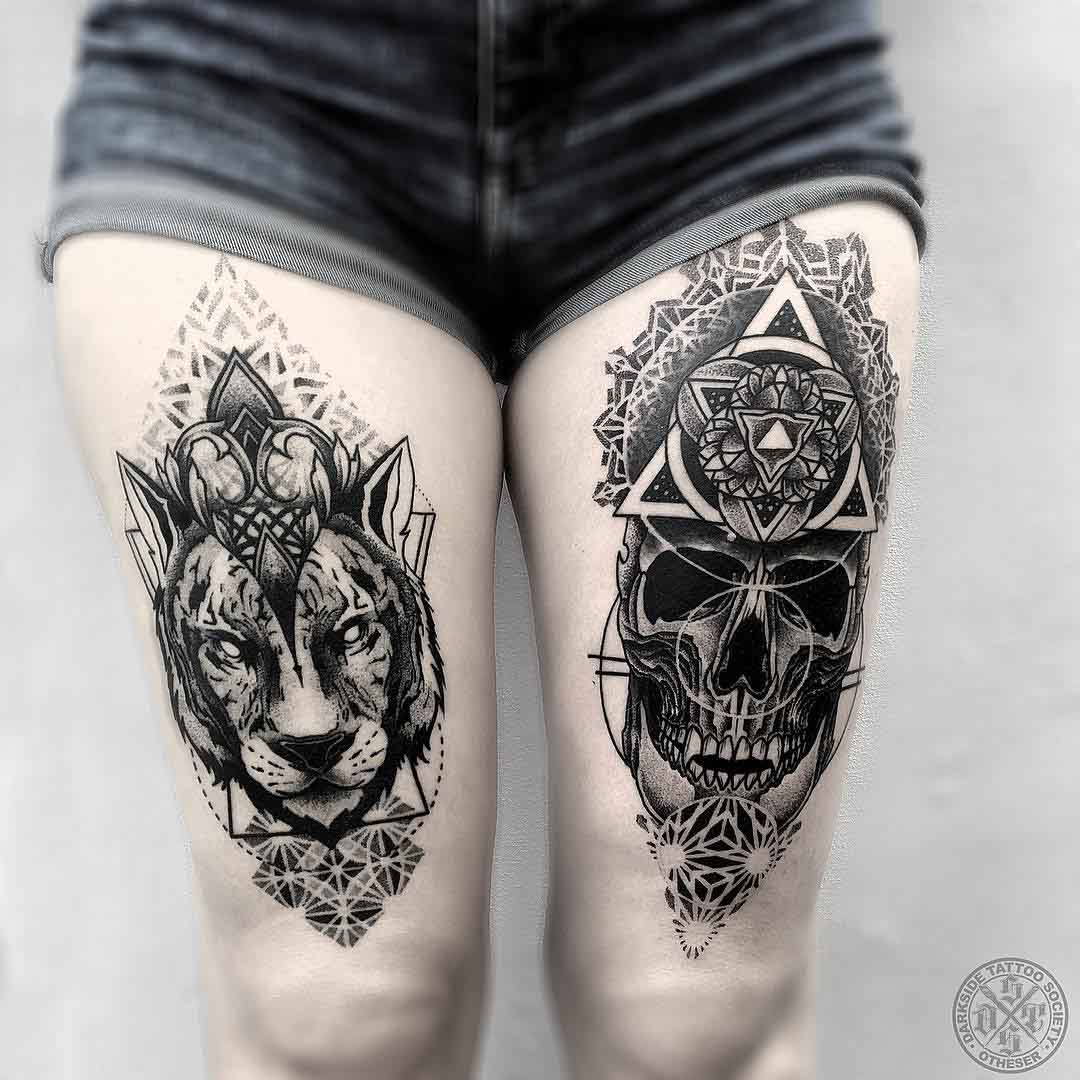 wolf asnd skull tattoos dotwork
