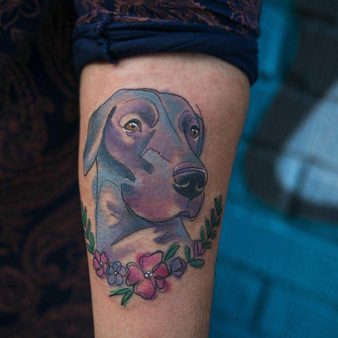 watercolor tattoo dog head