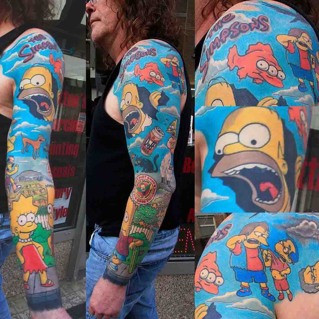 simpsons tattoo full sleeve