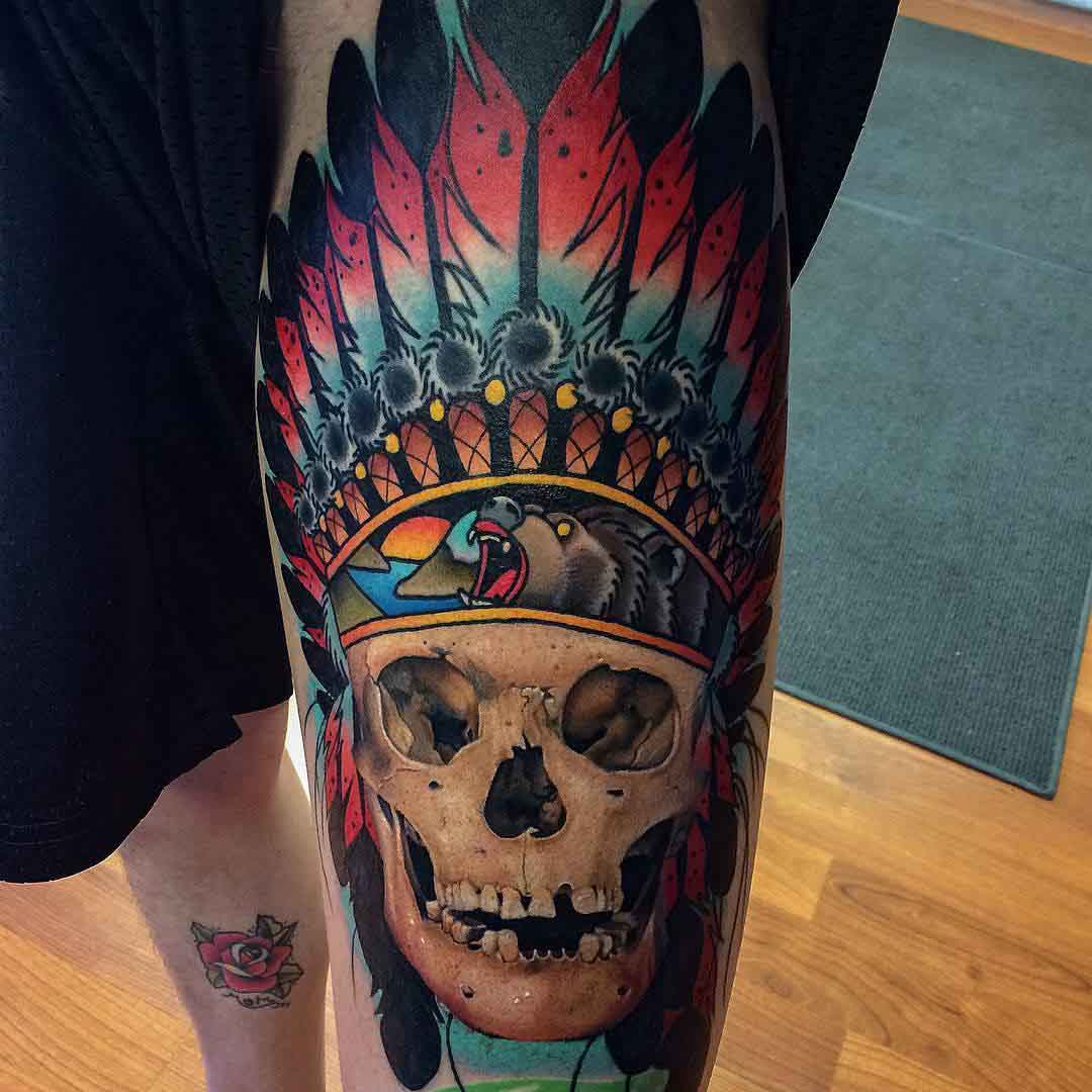 skull tattoo indian neo-traditional