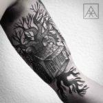Tree House Tattoo on Bicep