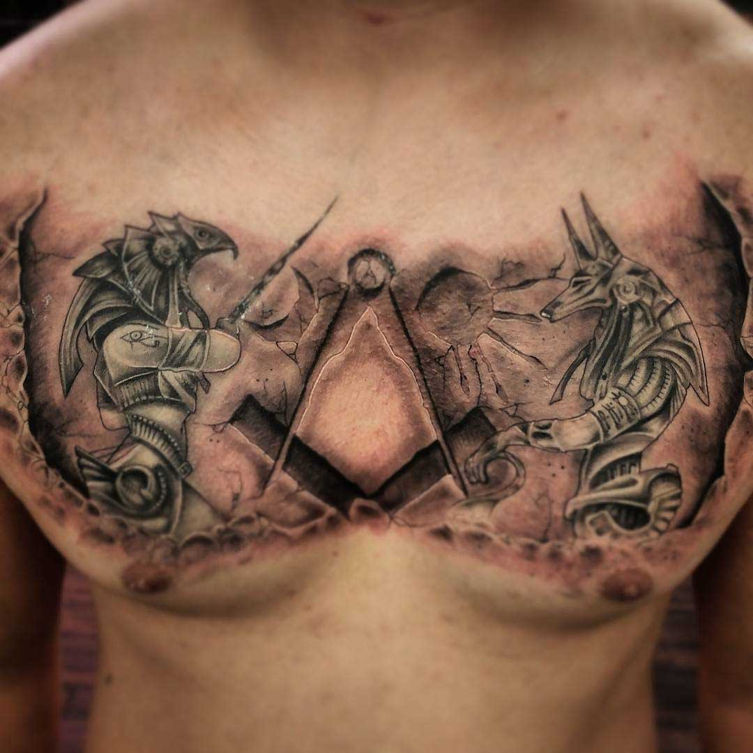 Ra and Anubis Tattoo on Chest Egyptian gods
