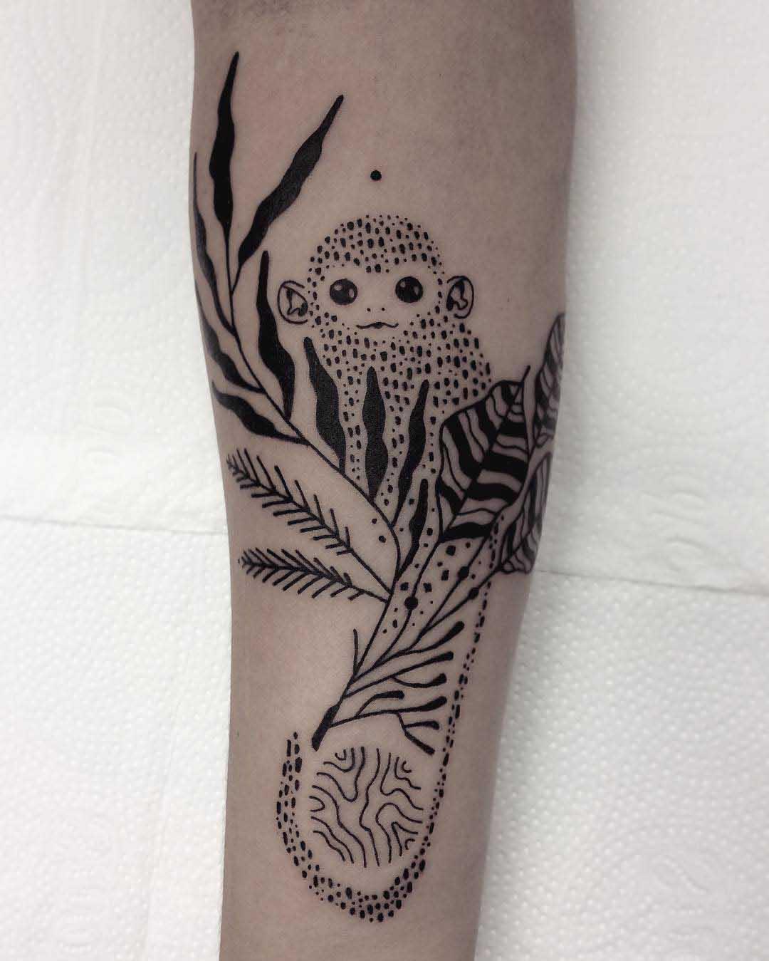 Dots tattoo monkey