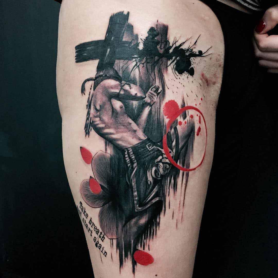 trash polka muai thai tattoo