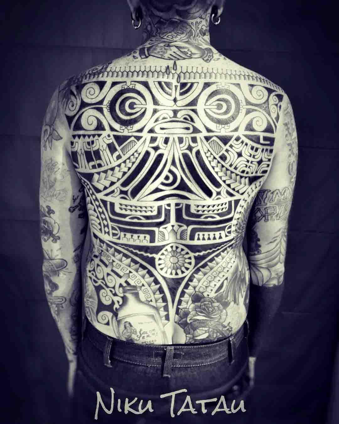 full back polynesian tattoo aztek