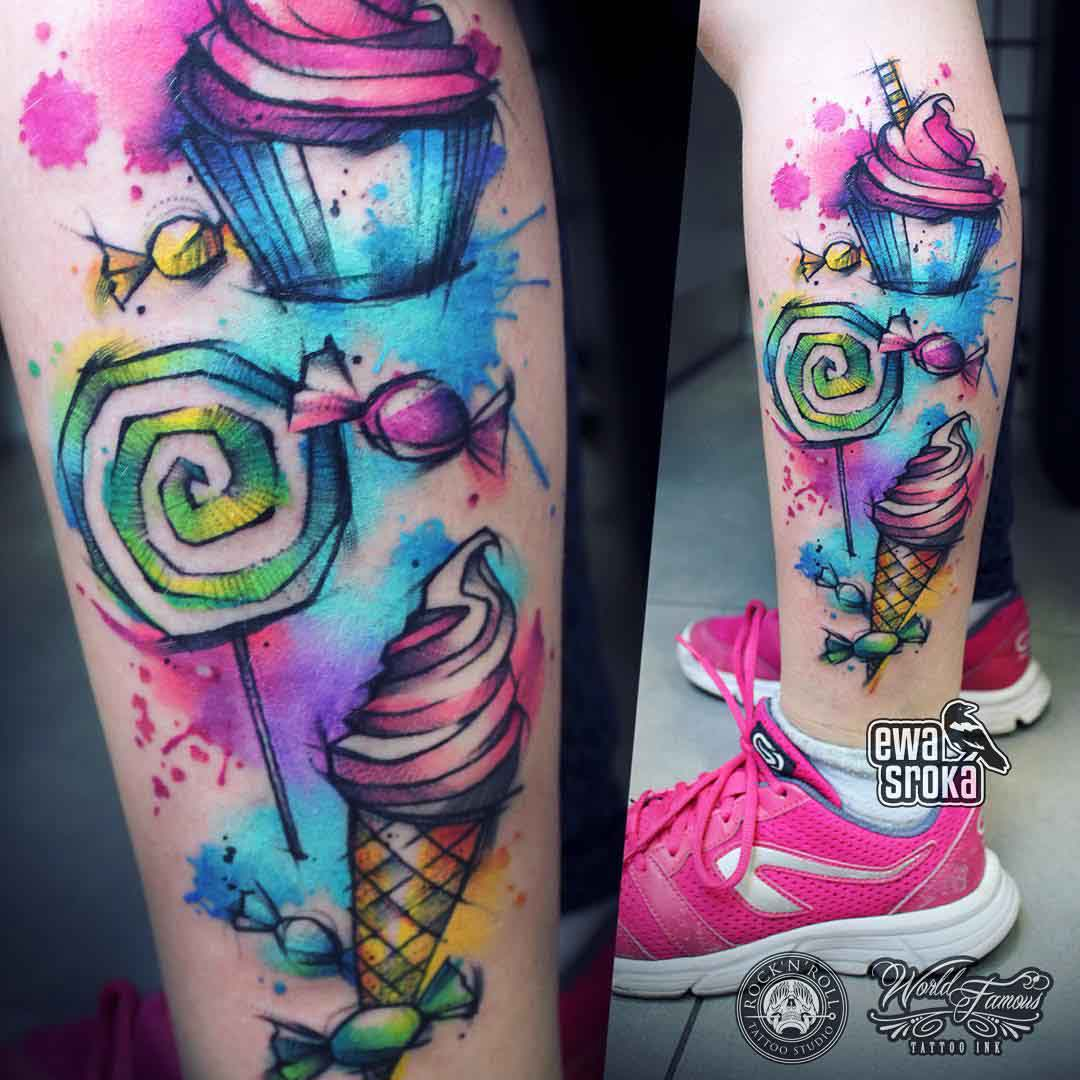 sweets ice-cream watercolor tattoo on ankle