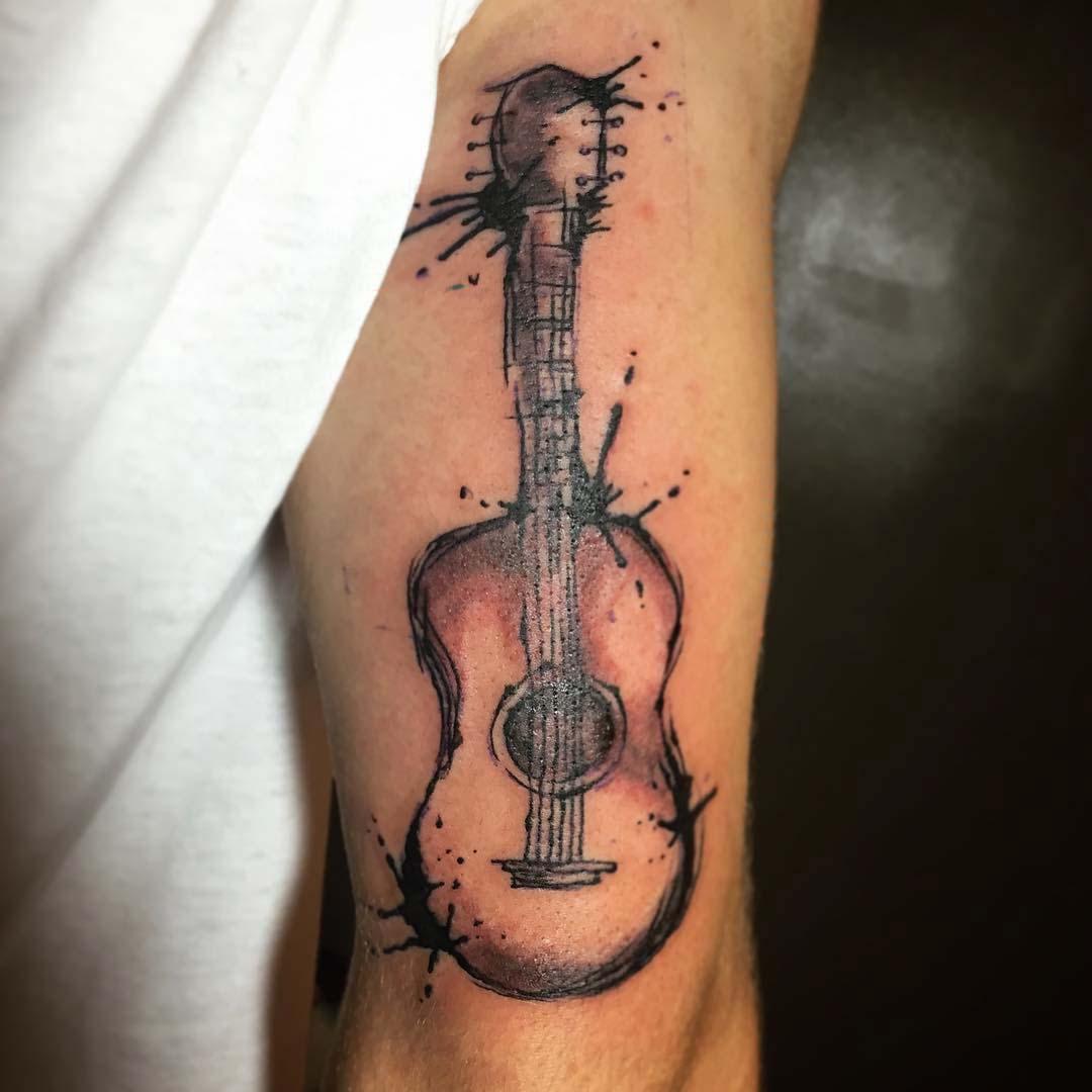 tricep tattoo guitar watercolor