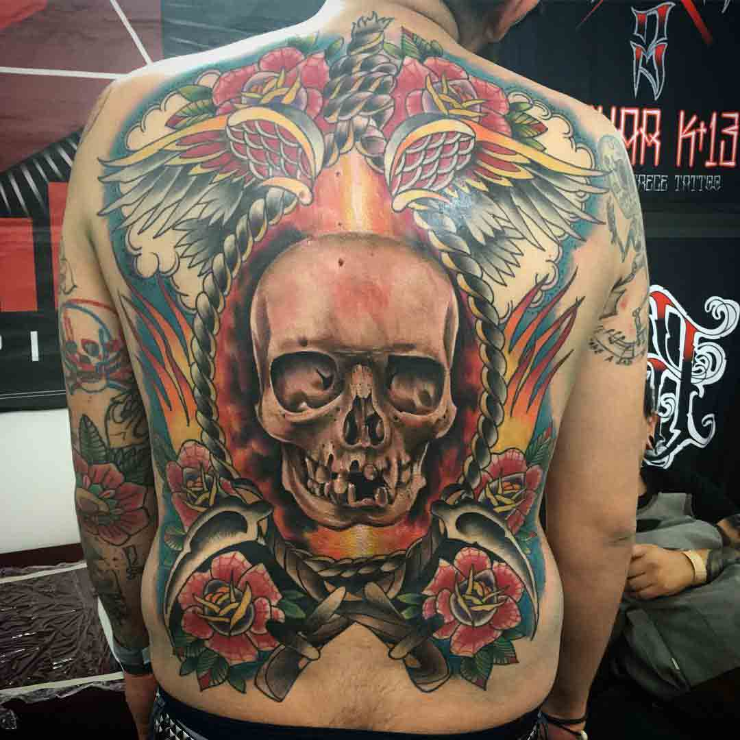 full back traditional tattoo skull