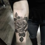 Black and Grey Rose Tattoo on Arm