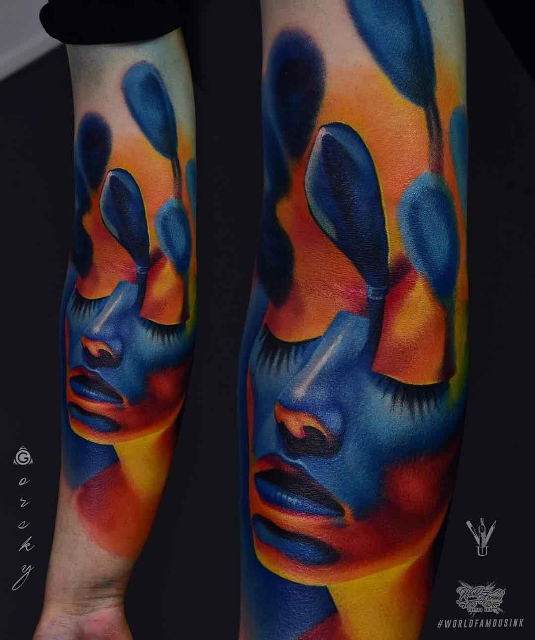 forearm tattoo realistic blue color