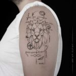 Mathematical Tattoo Lion on Shoulder