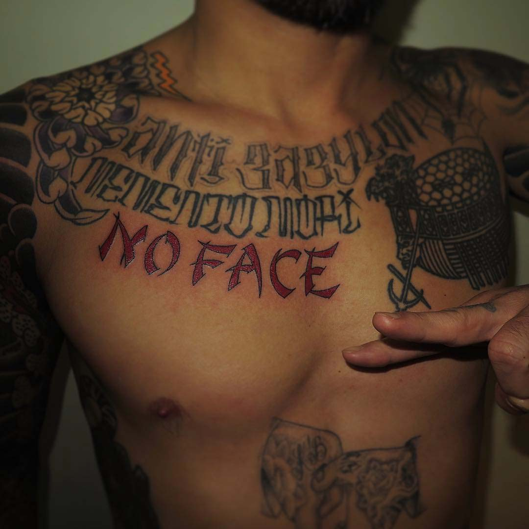 lettering tattoo on chest NO Face
