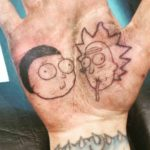 Rick and Morty Tattoo on Palm