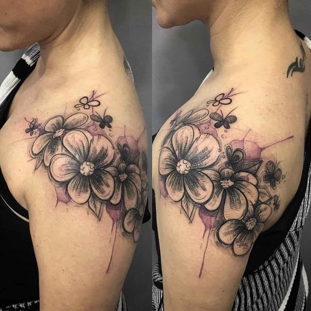 flowers tattoo on shoulder girl