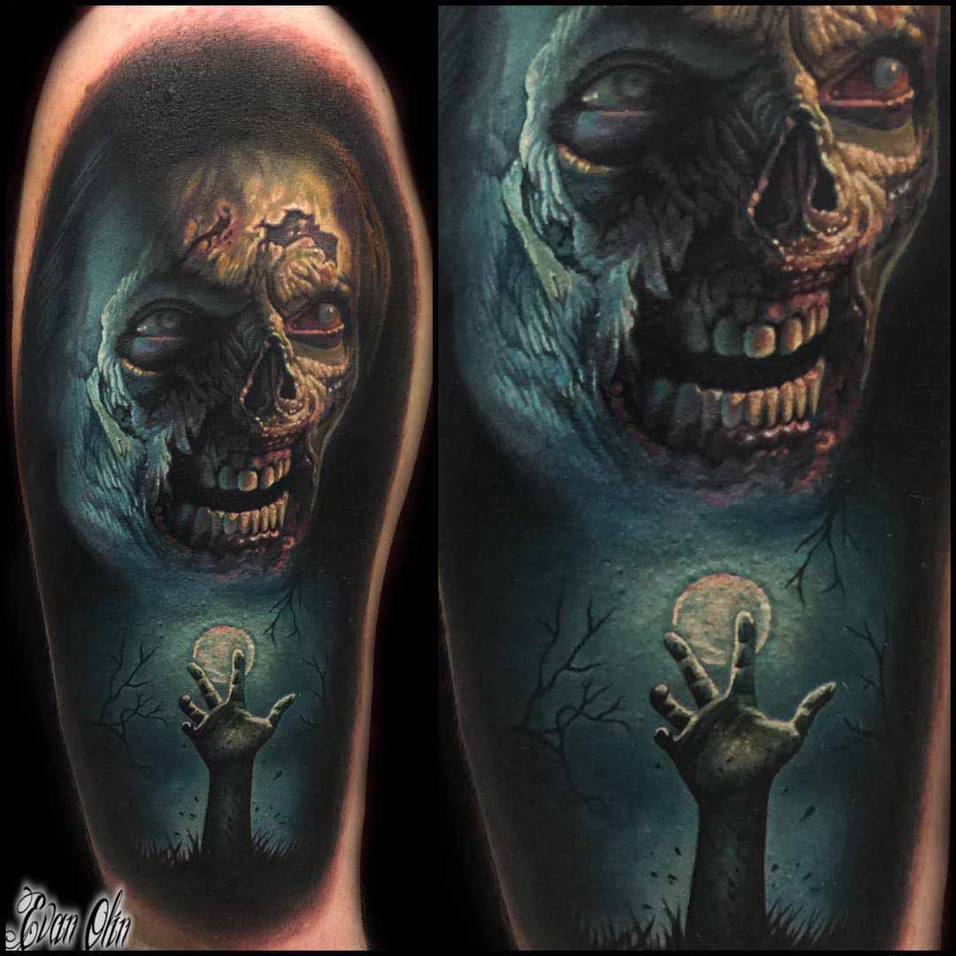 zombie tattoo on shoulder