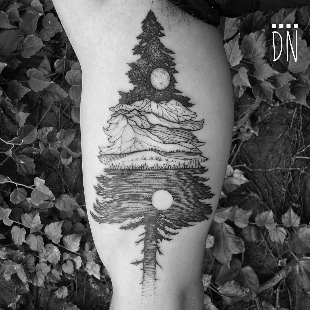 bicep tattoo spruce tree Alaska