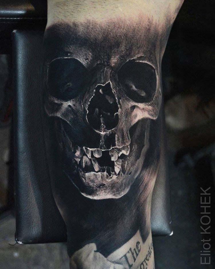 realistic skull tattoo black and grey