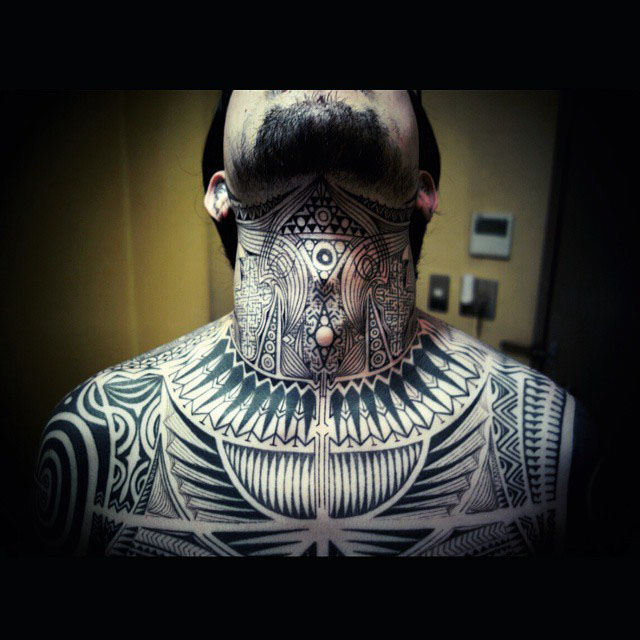neck tattoo tribal style