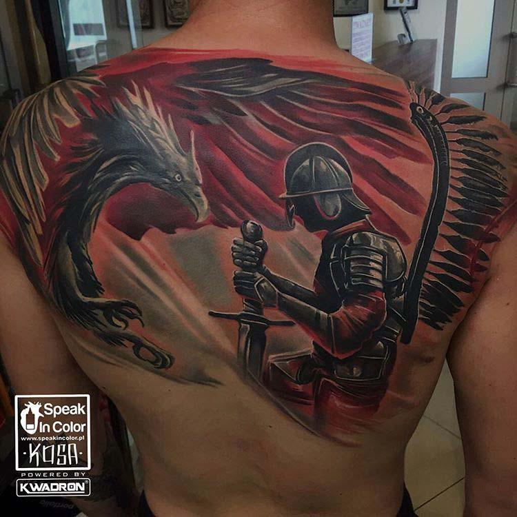 phoenix and knoght tattoo on back big