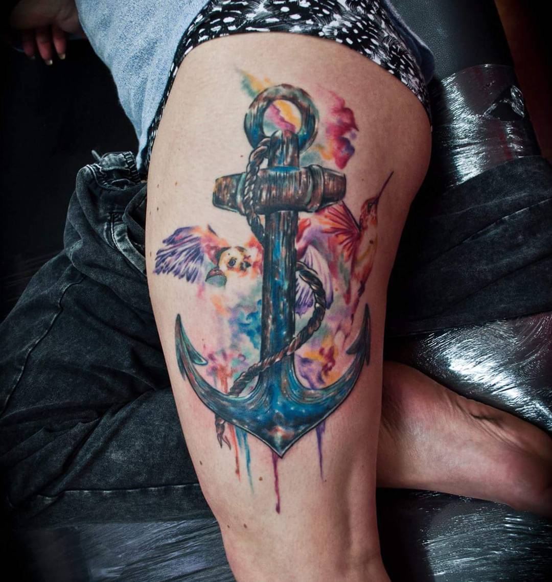 watercolor anchor tattoo by jayvangerventattoo