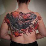 Back Crow Tattoo Oriental