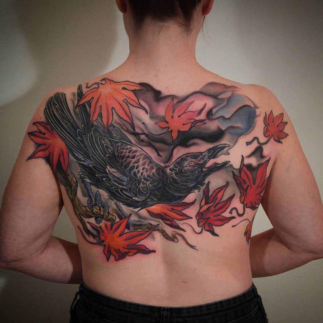 oriental tattoo crow on back